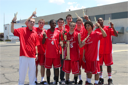The Arizona Red Shirts show off their runner up trophies from the Las Vegas Swoosh Nationals.